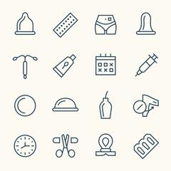 Obraz Contraception line icons - fototapety do salonu