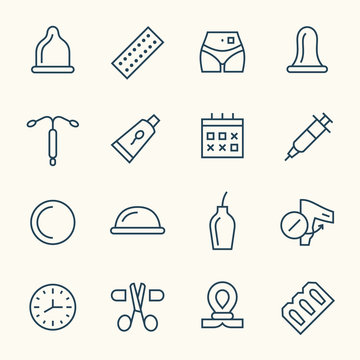 Contraception line icons