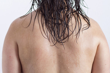 A woman with the back wet