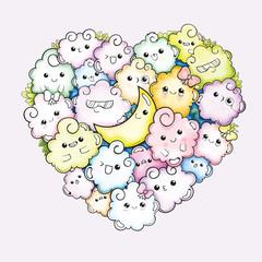 Cute heart sketch cloud cartoon character