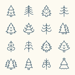 Christmas tree line icons