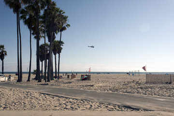A view of Venice beach, with palm trees, boardwalk, beach sand and a flying helicopter