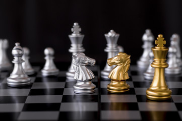 Confrontation of chess, business fighting concept