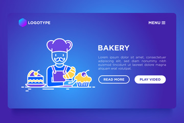 Bakery concept: baker with croissant and cupcakes. Modern vector illustration, web page template on gradient background.