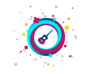 Acoustic guitar sign icon. Music symbol. Colorful button with icon. Geometric elements. Vector