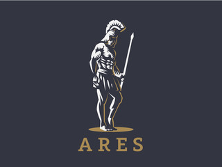 God Ares or Mars with a spear.