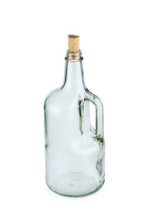 Empty glass bottle with handle