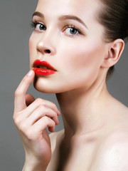 beauty female face. woman cares for face skin