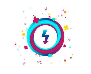Photo flash sign icon. Lightning symbol. Colorful button with icon. Geometric elements. Vector