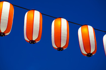 Asian Red Paper Lantern in the night