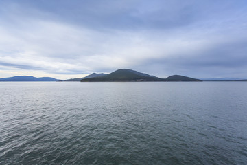 View of open water and rolling islands in the San Juans.
