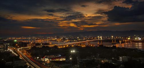 Mactan Bridge at Night with car light trails
