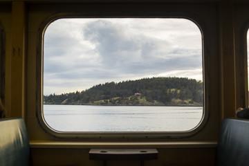 View of San Juan Islands from Ferry window.  Fotoväggar