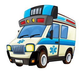 cartoon scene with ambulance truck on white background - illustration for children