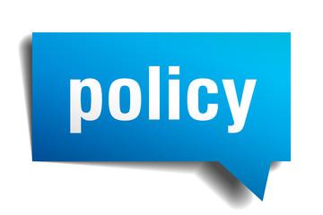 policy blue 3d speech bubble