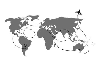 World map point with Business plane concept and its track on white background. Vector illustration