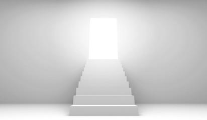 3d rendering stairway with open door