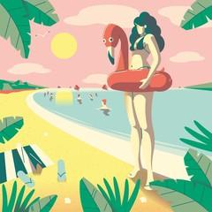 Flamingo girl on the beach