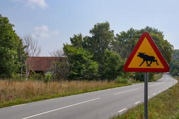 Verkehrsschild, Achtung Elch