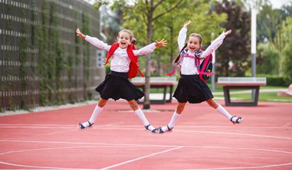 Happy children  girlfriend schoolgirl student elementary school.