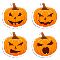 Set pumpkin on white background. The main symbol of the Happy Halloween holiday. Orange pumpkin with smile for your design for the holiday Halloween. Vector illustration.
