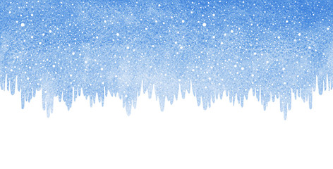 Winter watercolor horizontal border, elongated background with falling snow, snowflakes texture. Icicles, ice uneven edge. Christmas, New Year template with space for text. Blue watercolour stains.