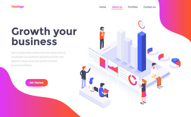Flat color Modern Isometric Concept Illustration - Growth your business