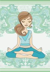 Yoga girl in lotus position – card