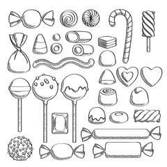 Sweets set. Assorted candies - sketch style.
