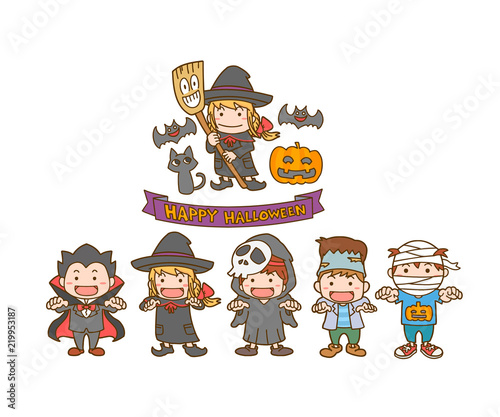 ハロウィン 仮装 子供達 魔女 イラスト Fotoliacom の ストック画像と
