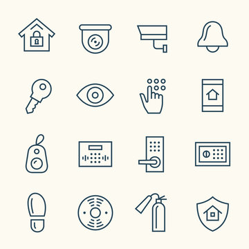 Home security line icons