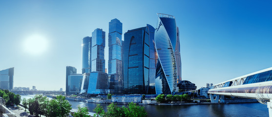 Photo Blinds City building Panoramic view of Moscow-City and Moscow River. International business center in the daytime