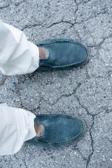 Men's feet in stylish shoes