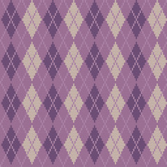 Seamless knitted pattern with rhombuses. Argyle print in purple colors. Checkered background. Vector illustration