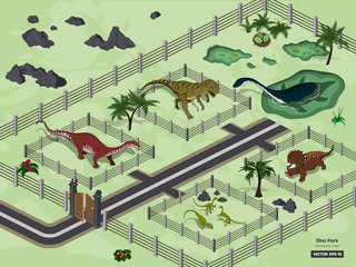 Dinosaur park in isometric style. Jurassic museum. Zoo of 3d ancient animals