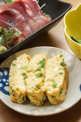 Japanese omelette and sashimi