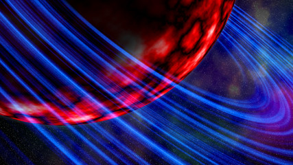 Huge red planet with blue rings. Abstract background, illustration