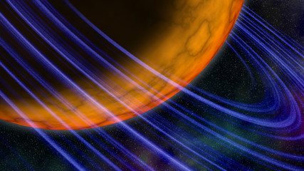 Huge yellow planet with blue rings. Abstract background, illustration
