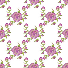 bouquet of flowers of purple peonies, seamless pattern, watercolor illustration. Pink and lilac color
