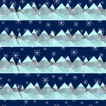Seamless pattern with mountain and snowflakes.