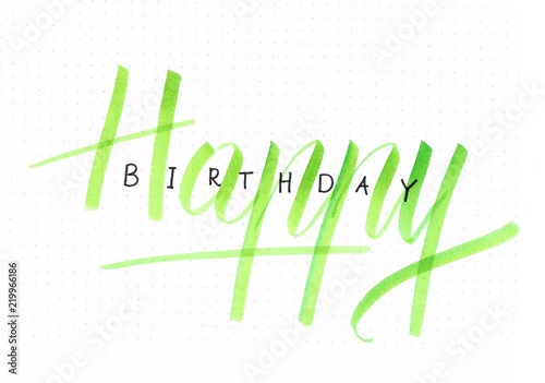 Happy Birthday Hand Lettering Card For A Birthday Gift In Green