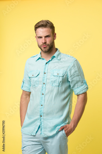 Man pose in casual style wear  Handsome man with beard and