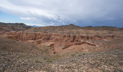 natural red stone canyon similar to the Martian landscape,Charyn Canyon in Kazakhstan