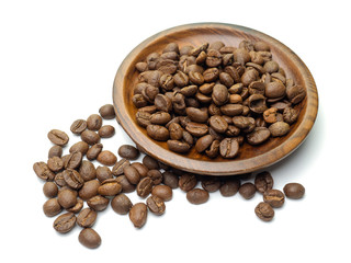 Closeup of coffee beans background..