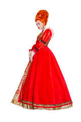 89fd658ddfb Young baroque redhead princess with hairstyle in the old castle ...