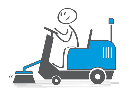 Vektor Illustration Straßenreinigung mit Kehrmaschine