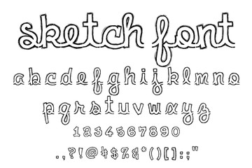 Sketch font alphabet