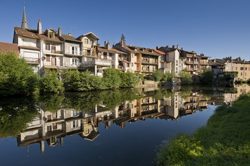 France, South-Western France, Cantal, Aurillac, houses along the Jordanne River