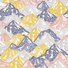 Mountains seamless pattern. Fun mountains kid wallpaper.