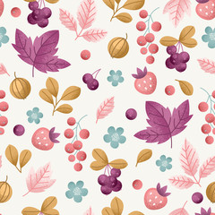 Wild berry seamless pattern. Fun berries fabric background. Vector illustration